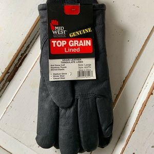 Mid West Top Grain Leather Lined New Gloves w tags
